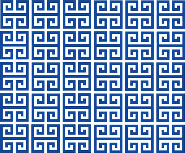 Blue greek design pattern