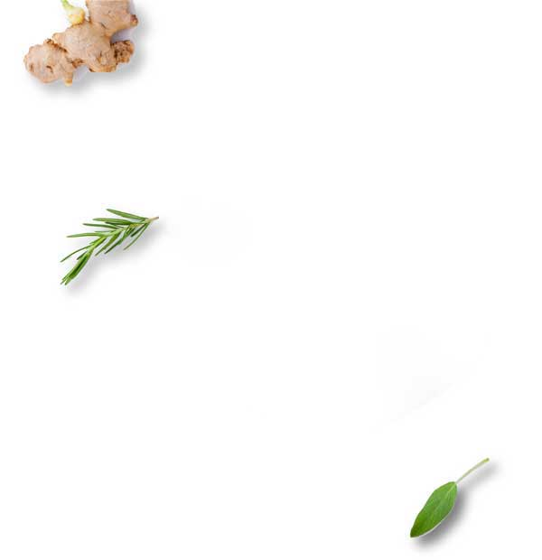 White background with leaves and ginger
