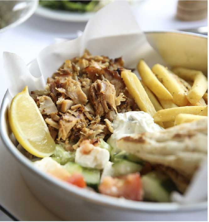 Yassas greek meal with meat and fries