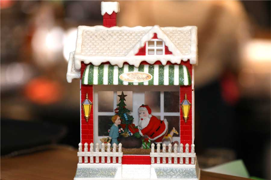 Gingerbread House Christmas theme with Santa and child