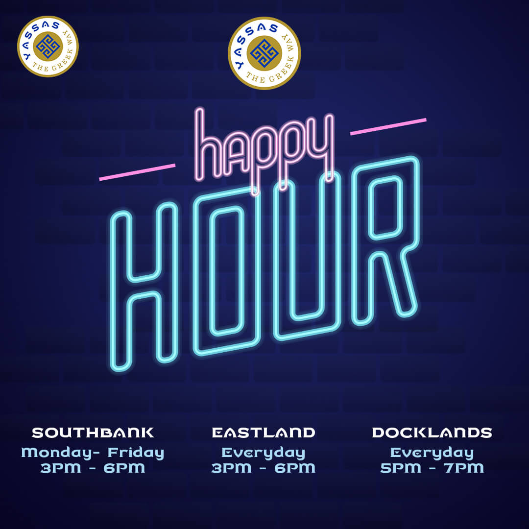 Happy hour poster promotion by Yassas restaurant